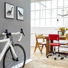 vintage studio colorful table setting and roadbike